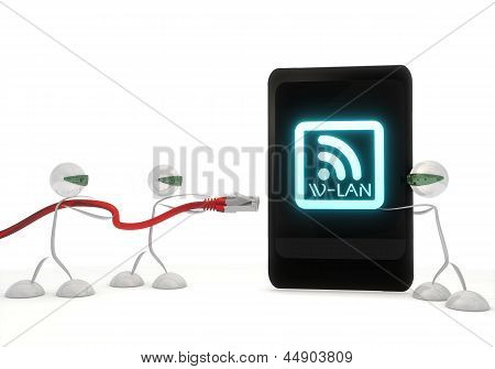 w-lan icon on a smart phone with three robots
