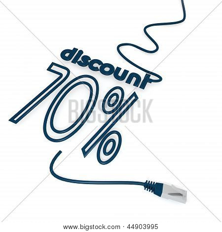 3d graphic of a -70 discount icon with cat5 network cable