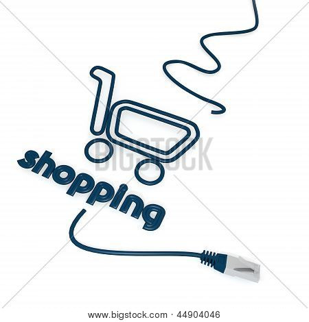shopping symbol with cat5 network cable