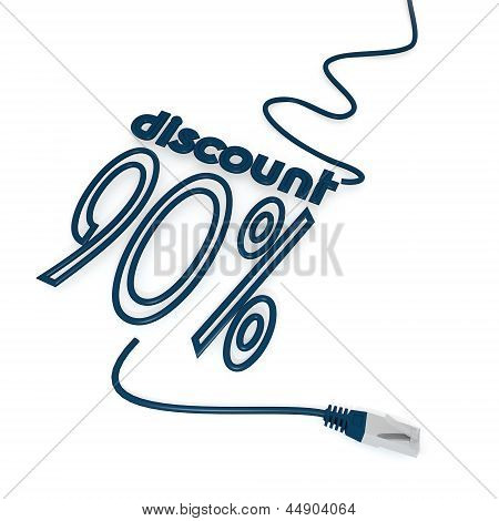 discount symbol with cat5 network cable