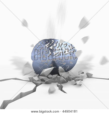 3d render of a crashed brain icon fallen from sky