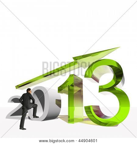Conceptual 3D human,man or businessman standing over an 2013 year symbol with an arrow isolated on white background
