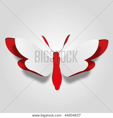High resolution 3D abstract concept or conceptual white paper with red background butterfly shape or symbol