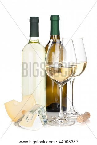 White wine bottles, two glasses, cheese and corkscrew. Isolated on white background