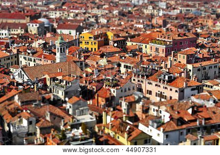 a view of Venice roofs, in Italy, with tilt shift lens effect