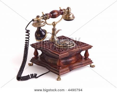Retro Fixed Phone Isolated On The White Background