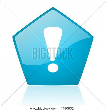 exclamation sign blue pentagon web glossy icon