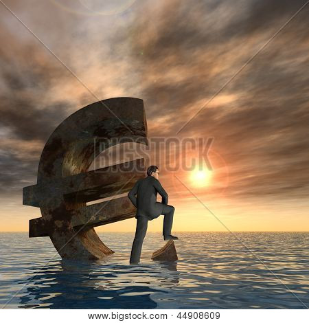 High resolution conceptual currency euro symbol and 3D businessman sinking in ocean as a concept for European crisis square background
