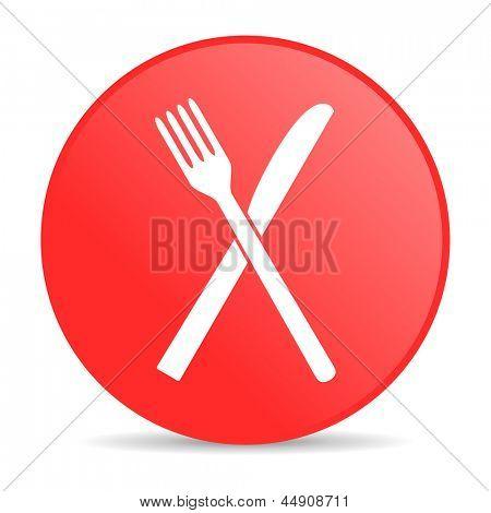 ícone brilhante de alimentos círculo vermelho web
