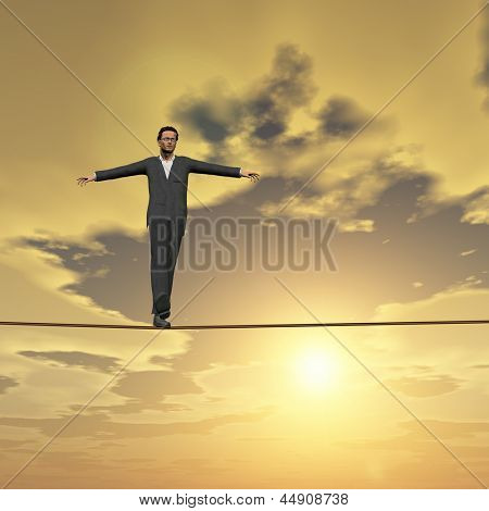 Conceptual concept of businessman or man in crisis walking in balance on rope over sunset sky square background