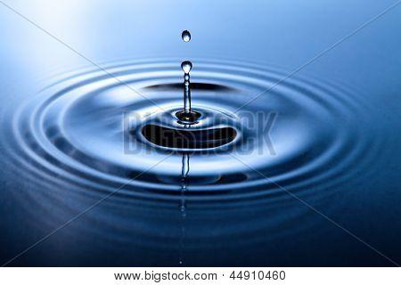 Macro shot of water drop falling