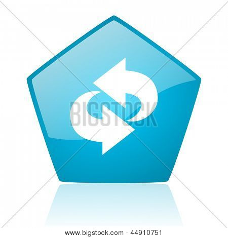 rotate blue pentagon web glossy icon