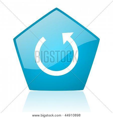rotate blue pentagon web glossy icon