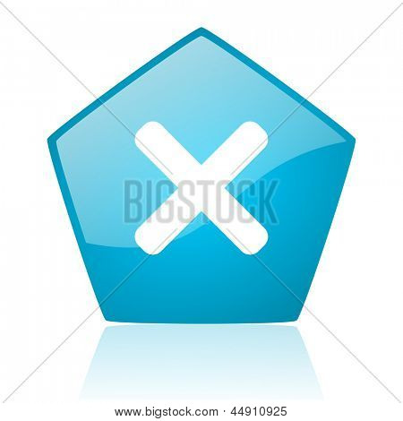 cancel blue pentagon web glossy icon