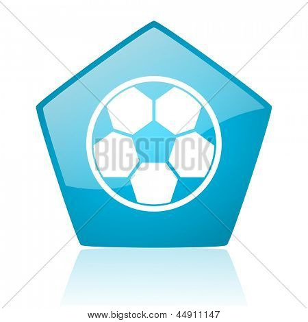 soccer blue pentagon web glossy icon