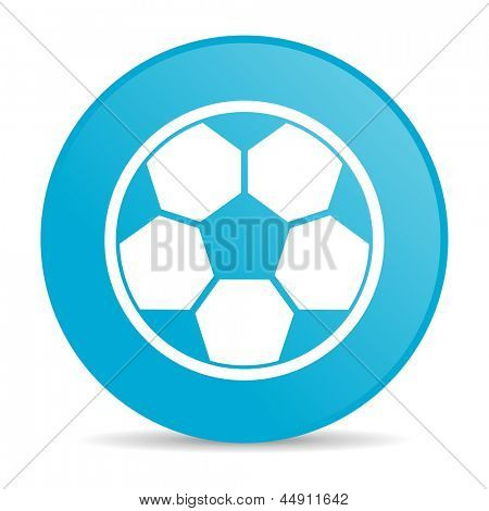 soccer blue circle web glossy icon