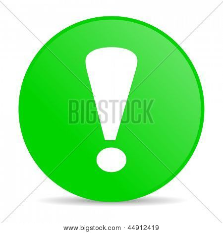 exclamation sign green circle web glossy icon