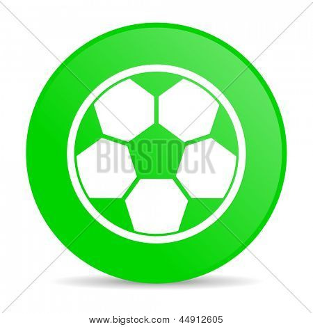 soccer green circle web glossy icon