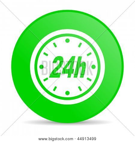 24h green circle web glossy icon