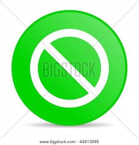 access denied green circle web glossy icon