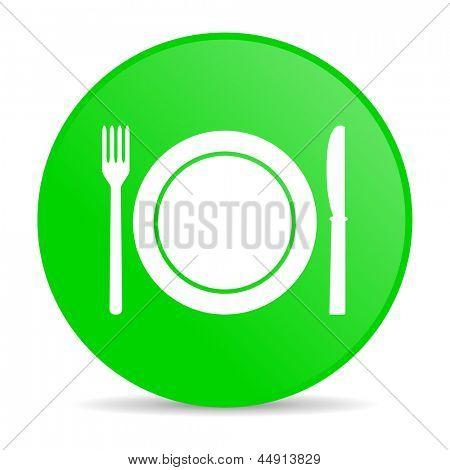 ícone brilhante de alimentos círculo verde web