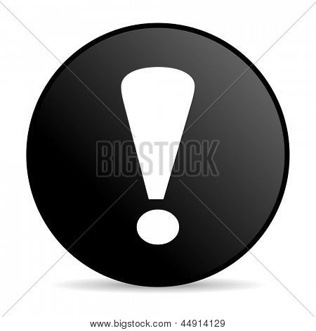 exclamation sign black circle web glossy icon