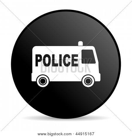 police black circle web glossy icon