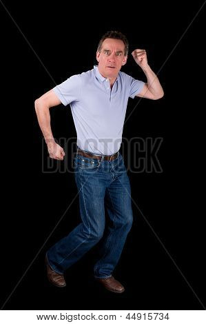 Man Funny Dancing Running On The Spot