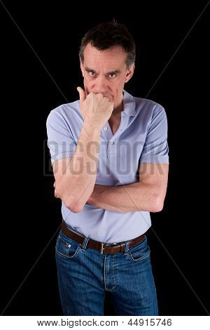 Angry Frowning Man Glaring Over Hand On Chin