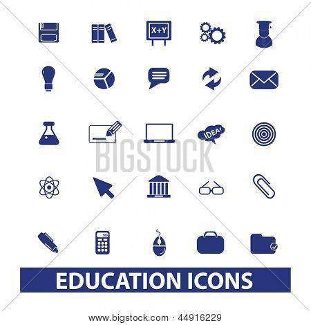 education, school, university, learning icons, signs, symbols set, vector