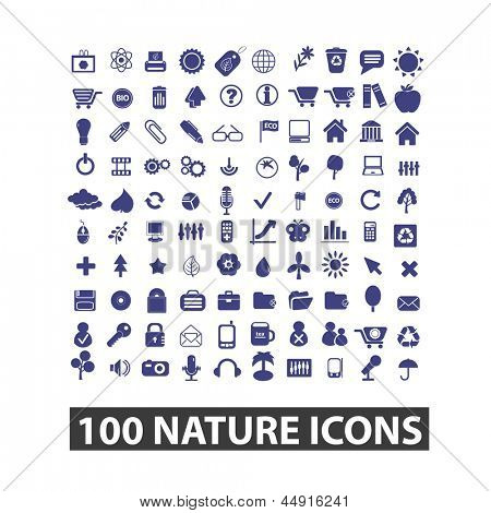 100 nature, environment, ecology icons, signs, vector set