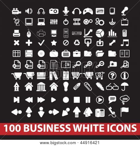 100 business, office, website, internet white icons on black background, vector set