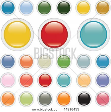 3d color glossy circle buttons, vector