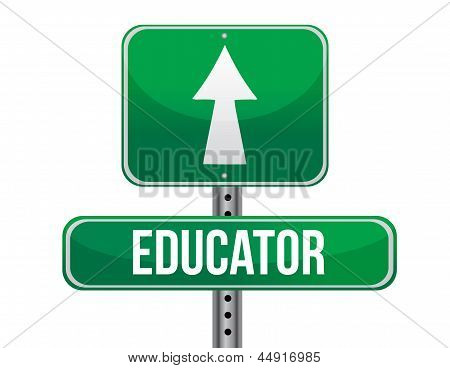 Educator Road Sign Illustration Design