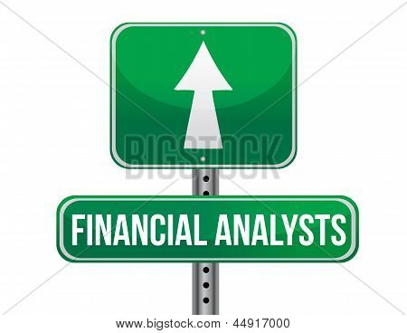 Financial Analyst Road Sign Illustration Design