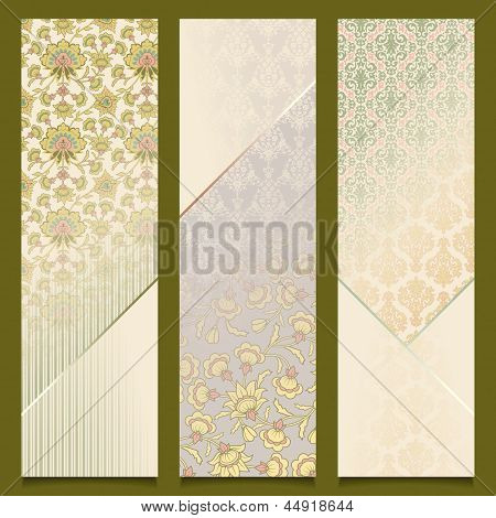 Vintage Vector Banners Retro Pattern Design Set