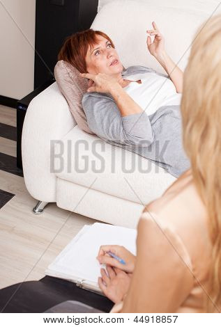 Adult woman on reception at the psychotherapist