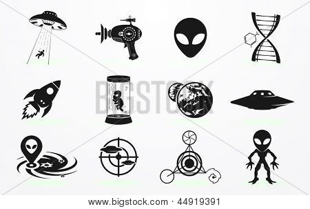 Alien and UFO icons set
