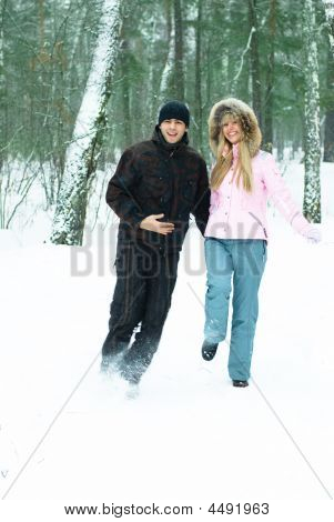 Happy Couple In Winter Park