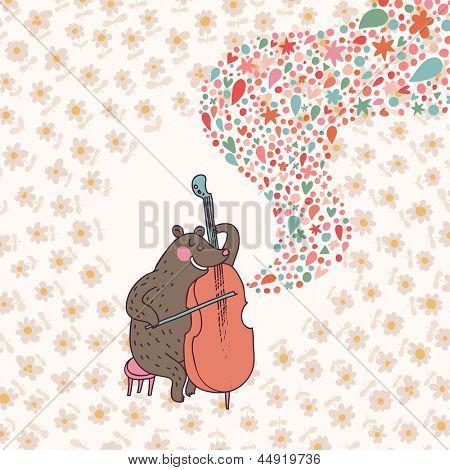 Funny bear �¢�?�? musician playing on cello. Cartoon childish vector card. Bright cartoon background
