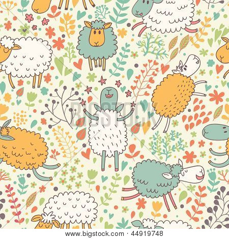 Funny sheep in flowers. Seamless pattern can be used for wallpapers, pattern fills, web page backgrounds, surface textures. Gorgeous vector background