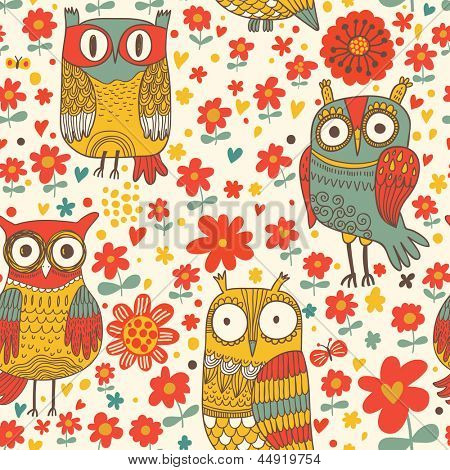 Funny cartoon owls. Seamless pattern can be used for wallpapers, pattern fills, web page backgrounds, surface textures. Bright vector wallpaper