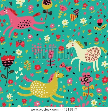 Childish cartoon seamless pattern � funny horses in flowers. Seamless pattern can be used for wallpapers, pattern fills, web page backgrounds, surface textures.