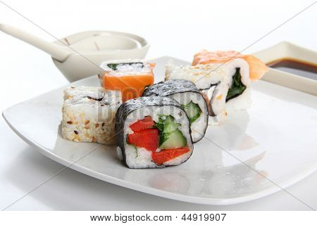 Color photograph of Japanese sushi on a plate