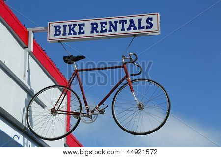 Bike rentals sign in Napa Valley, California