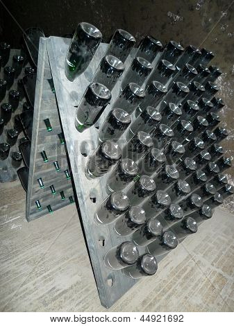Champagne bottles stored in Schramsberg cellar during riddling