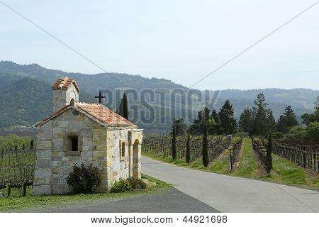 The Chapel next to vineyard in Napa Valley, California