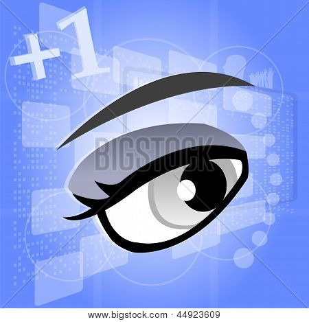 Woman Eye On Digital Touch Screen, 3D