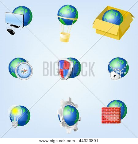 Set Of Vector Globe Icons Showing Earth