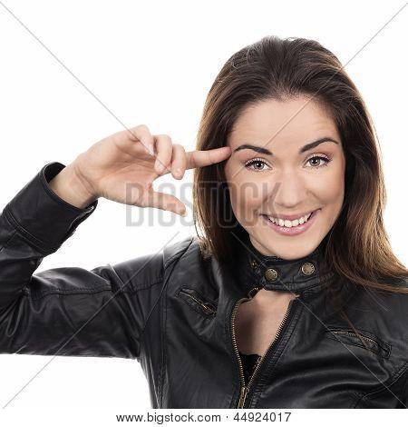 Beautiful Girl Keep Finger Near Head